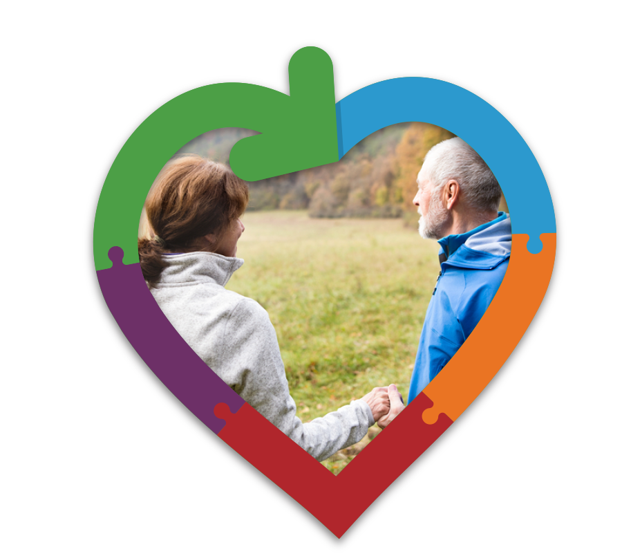 Couple holding hands outdoor inside a blue, orange, red, purple and green outline of a heart